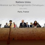 French Foreign Minister Laurent Fabius (C), President-designate of COP21, and Secretary of the U.N. Framework Convention on Climate Change, Christiana Figueres (L), attend the World Climate Change Conference 2015 (COP21) at Le Bourget, near Paris, France, December 9, 2015.  REUTERS/Stephane Mahe