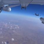 A frame grab taken from footage from a camera under a plane, released by Russia's Defence Ministry October 22, 2015, shows military jets of the Russian air force during a sortie at an unknown location in Syria. REUTERS/Ministry of Defence of the Russian Federation/Handout via Reuters
