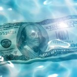 An image of 100 Dollar in the water