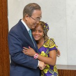 SG meets with his special guest ( school girl from Mozambique)Raquelina Langa