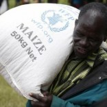 A Malawian man carries food aid distributed by the United Nations World Food Progamme (WFP) in Mzumazi village near the capital Lilongwe, February 3, 2016.  REUTERS/Mike Hutchings