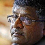 India?s Law and Telecoms Minister Ravi Shankar Prasad, pauses during a news conference in New Delhi June 17, 2014. REUTERS/Anindito Mukherjee