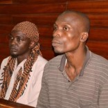 Members of secessionist group Mombasa Republican Council (MRC), Jabiri Ali Dzuya (L) and Bwana Mkuu Alwan (R) sit inside the dock at the High Court in Kenya's coastal city Mombasa, July 29, 2016, where they were sentenced to death for murdering four police officers on the eve of national elections in 2013. REUTERS/Joseph Okanga