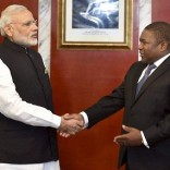 Maputo: Prime Minister Narendra Modi with Mozambique President Filipe Jacinto Nyusi during a restricted meeting  at Presidential Office in Maputo, Mozambique on Thursday. PTI Photo by Kamal Singh (PTI7_7_2016_000096B)