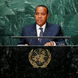 Prime Minister Patrice Emery Trovoada of the Democratic Republic of Sao Tome and Principe addresses the United Nations General Assembly in the Manhattan borough of New York, U.S., September 23, 2016.  REUTERS/Eduardo Munoz