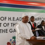 The swearing in ceremony at the inauguration of Gambia President Adama Barrow at the Gambian embassy in Dakar, Senegal January 19, 2017 is seen in this handout photo provided by Office of the Senegal Presidency. Picture taken January 19, 2017. REUTERS/Office of the Senegal Presidency/Handout