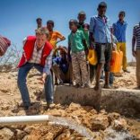 A water truck delivers water supply in the drought-stricken Baligubadle village near Hargeisa, the capital city of Somaliland, in this handout picture provided by The International Federation of Red Cross and Red Crescent Societies on March 15, 2017.