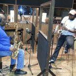 COLLAB: Saxophonists Manu Dibango and Moreira Chonguica brewing up a storm.