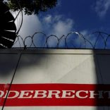 The corporate logo of Odebrecht is seen in a construction site in Caracas, Venezuela January 26, 2017. REUTERS/Carlos Garcia Rawlins - RTSXK8G