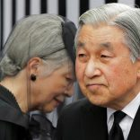 FILE PHOTO: Japan's Emperor Akihito (R) and Empress Michiko leave after praying at the altar of late Prince Tomohito, a cousin of the Emperor, in Tokyo June 19, 2012.  REUTERS/Itsuo Inouye/Pool/File Photo