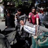 Men move an injured man to a hospital after a blast in Kabul, Afghanistan May 31, 2017. REUTERS/Mohammad Ismail