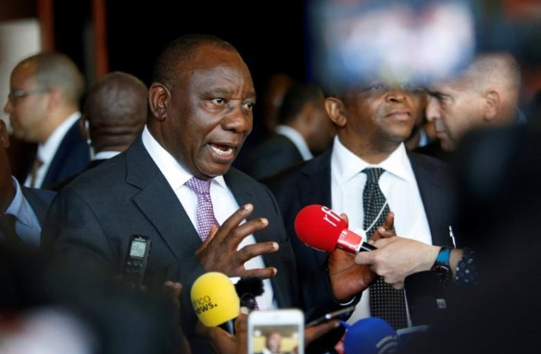 South African Deputy President Cyril Ramaphosa speaks with journalists at the World Economic Forum on Africa 2017 meeting in Durban, South Africa, May 5, 2017. REUTERS/Rogan Ward