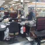 Customers queue in 'Rost' supermarket in Kharkiv, Ukraine June 27, 2017 in this picture obtained from social media. MIKHAIL GOLUB via REUTERS
