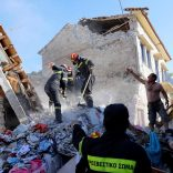 Rescue team members search for victims at a collapsed building in the village of Vrissa on the Greek island of Lesbos, Greece, after a strong earthquake shook the eastern Aegean, June 12, 2017. REUTERS/Giorgos Moutafis