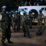 United Nations peacekeepers prepare to secure the grounds of the central mosque in the mostly Muslim PK5 neighbourhood of the capital Bangui, Central African Republic, for the visit of Pope Francis, November 30, 2015. REUTERS/Siegfried Modola