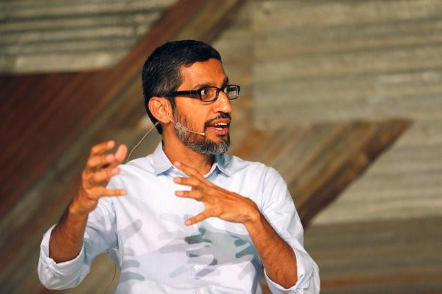 Google's CEO Sundar Pichai speaks on stage during a conference tagged 'Google for Nigeria' in Nigeria's commercial capital Lagos, July 27, 2017. REUTERS/Akintunde Akinleye