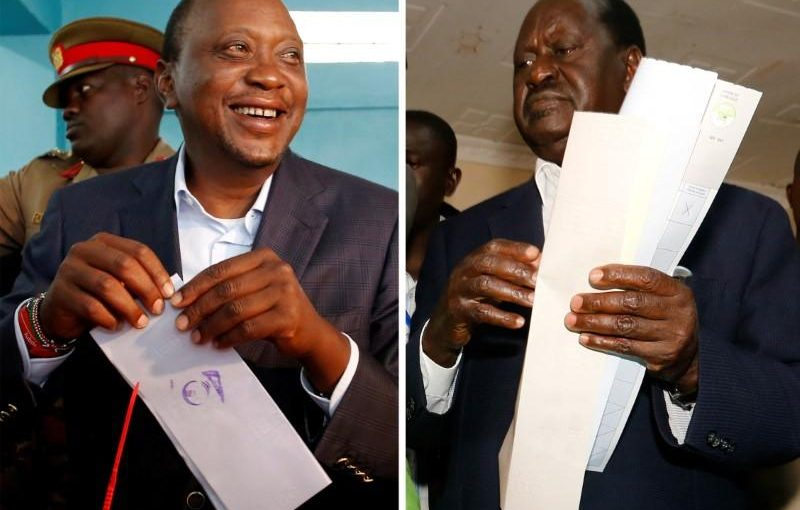 A combination picture shows Kenyan opposition leader Raila Odinga, the presidential candidate of the National Super Alliance (NASA) coalition, and Kenya's President Uhuru Kenyatta casting their vote during the presidential election, Kenya August 8, 2017. REUTERS/Thomas Mukoya/Baz Ratner