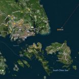 A map shows the location where the Alnic MC merchant vessel came to a halt after a collision with the guided-missile destroyer USS John S. McCain east of Singapore August 21, 2017.  REUTERS