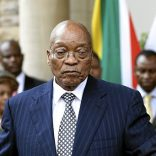 South African President Jacob Zuma gives a press conference during an official visit of the President of the Central African Republicon April 5, 2017 at the Sefako M Makgatho Presidential Guesthouse in Pretoria.South Africa's ruling ANC party on April 5, 2017, expressed support for President Jacob Zuma after senior members openly criticised his cabinet reshuffle, citing fears of worsening corruption and economic crisis. / AFP PHOTO / PHILL MAGAKOE