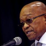 FILE PHOTO - South Africa's President Jacob Zuma addresses an anti-crime meeting in Elsie's River, Cape Town, South Africa May 30, 2017. Picture taken May 30, 2017. REUTERS/Mike Hutchings