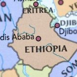Map of Ethiopia and Eritrea.