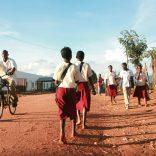 Pupils working back from school... Gurue. Zambezia Province.  Picture: Neo Ntsoma      11/03/2010
